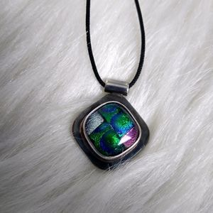"Silver and Dichroic Glass 17"" Necklace"